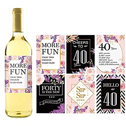 IHopes 40th Birthday Wine Bottle Labels Or Stickers Present 1979 Bday Milestone Gifts For Her