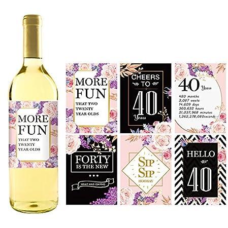 Etiquetas o pegatinas para botellas de vino de 40 cumpleaños ...