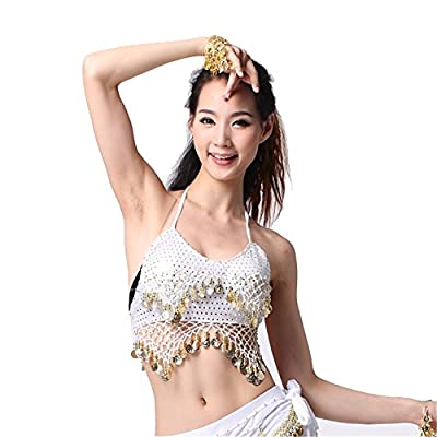 Belly Dance Top 2-row Coins Tops With Pad Dancing Highlights Mesh Bra Belly Dance Costume
