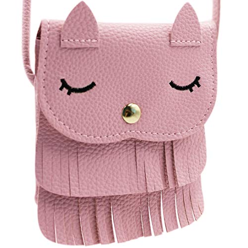 ZGMYC Cat Tassel Shoulder Bag Small Coin Purse Crossbody Satchel for Kids Girls, Pink (5.1'' x -