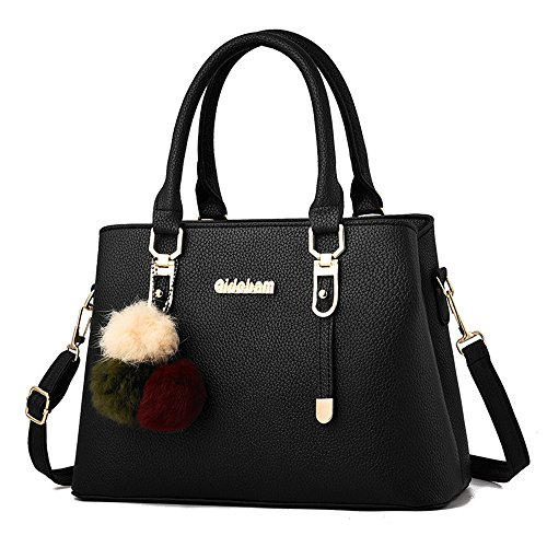 (jvps17-b) 2018 New Women Pu Bag Waterproof Bag Shoulder Bag European And American Fashion All 6 Popular Colors Popular Travel Bag Cute Bag Black Celebrity