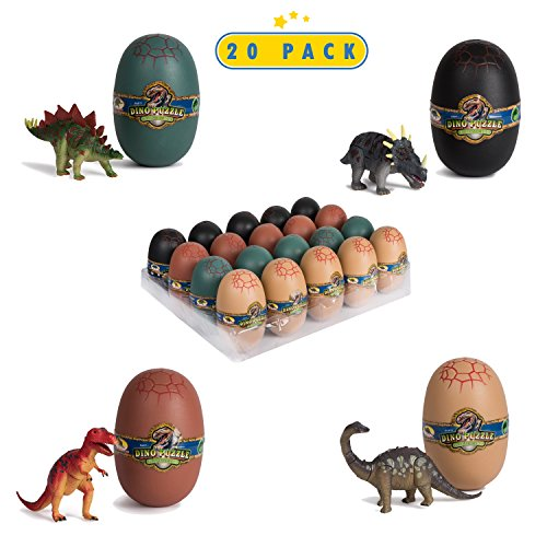 Jurassic Park Party Ideas (20 3D Dinosaur Puzzles In Dino Eggs - Jurassic Egg With Dinosaur Figures- Dinosaurs Toys For Kids Party Favors And Dinosaur Party, Easter Basket Fillers Easter Eggs Toys For)