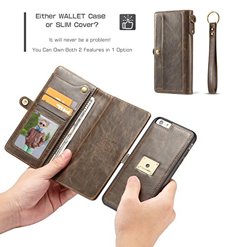 XRPow iPhone 6S Plus Magnetic Detachable Case, Wrist Strap Slim Cover Leather Folio Wallet Holder Case for Apple iPhone 6 Plus /6s Plus 5.5inch Brown