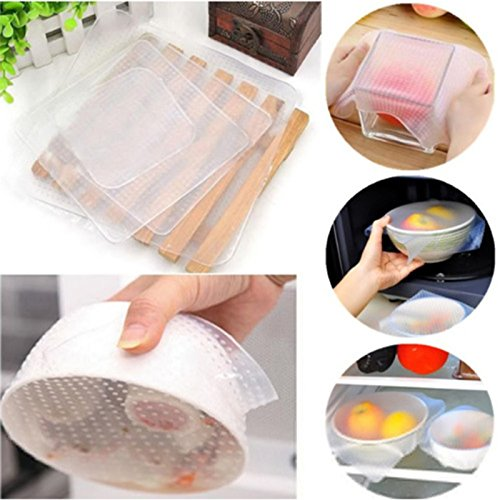 Zehui Reusable Silicone Bowl Covers and Food Stretch Lids Environmental Plastic Wrap to Keep Food Fres Set of 4 Food Fresh-keeping Cover