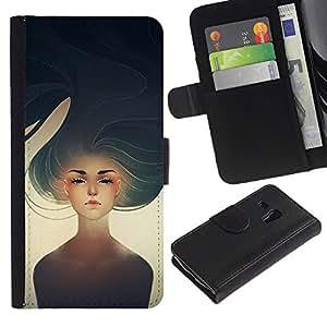 Paccase / Billetera de Cuero Caso del tirón Titular de la tarjeta Carcasa Funda para - Girl Heartbreak Sun Painting Art - Samsung Galaxy S3 MINI NOT REGULAR! I8190 I8190N