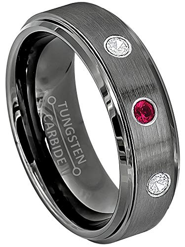 (Jewelry Avalanche 0.21ctw Ruby & Diamond 3-Stone Tungsten Ring - 6MM Brushed Gunmetal (Dark Gray) Comfort Fit Tungsten Wedding Band - 10)