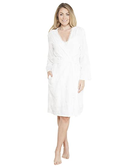 Cyberjammies 3721 Women\'s Georgia White Solid Colour Embroidered ...