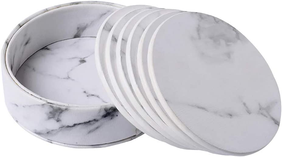 Suillty PU Leather Marble Round Cold/Hot Drinks Coaster Cups Mugs Place Mat Pad with Holder for Home Office Kitchen Bar,Housewarming Gift, Prevent Furniture from Stain and Scratched(Set of 6)