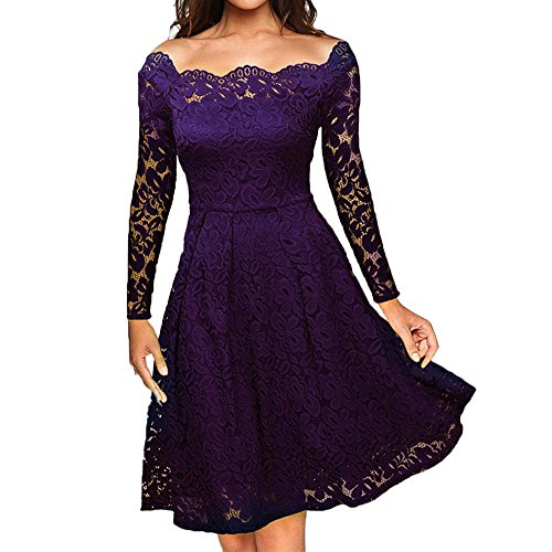 Toimothcn Womens Vintage Dresses Lace Floral Off Shoulder Long Sleeve Swing Dress A-Line Cocktail Party Prom(Purple,M)