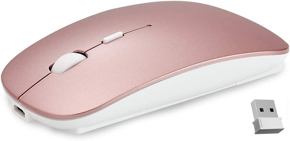 Ultra-Thin 2.4G Office Wireless Mouse Mute Charging Mouse Notebook Home Mouse with USB Receiver Compatible for Notebook, PC, Laptop, Computer, MacBook (Rose Gold)