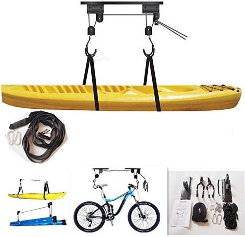 WERNG Ascensor De Bicicletas, Techo Soporte De Elevación Bicicleta Montado En La Pared, Que Soporta Carga 132LB Y Longitud De La Cuerda 15M, Freno De La Cuerda Sistema De Poleas para Kayak/Bicicleta: