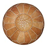 Moroccan handmade leather pouf ottoman round footstool color light Almond Unstuffed