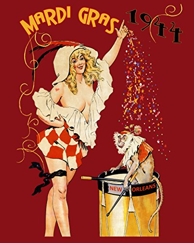 - CANVAS 1944 Blond Girl Monkey Mardi Gras Carnival New Orleans USA Travel 24