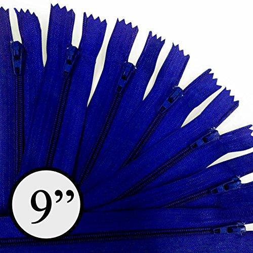 KGS 9 inch Nylon Zipper Zipper | 100 Zippers/Pack (Royal Blue)
