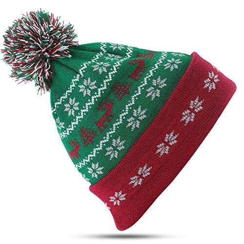 LUTHER PIKE SEATTLE Christmas Winter Hats for Men & Women: Mens Ugly Sweater Red & Green Beanie Snow Ski Hat Green ()