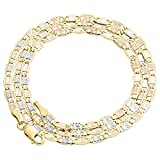 10K Tri-color Gold 2.75mm Valentino Link Chain Necklace Lobster Clasp