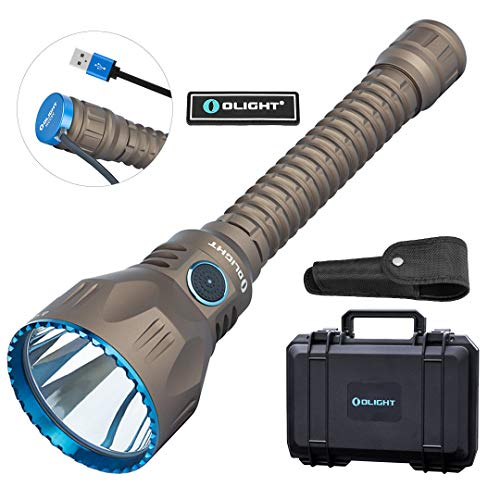 OLIGHT Javelot Pro 2100 Lumens Dual-Switch Cree XHP35 HI NW LED Tactical Flashlight, Beam Distance of 1080 Meters Rechargeable Tactical Light for Hunting, Search & Rescue (Desert Tan (FDE))
