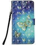 LG Aristo 2 Case, LG Tribute Dynasty Case,LG K8 2018 Case,LG Zone 4 Case, LG Aristo 2 Plus Case,LG Fortune 2 Case,Voanice Wallet Card Slots Holder Kickstand PU Leather Flip Cover&Stylus-Blue Butterfly