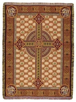 Irish Celtic Cross Tapestry Throw Blanket 50