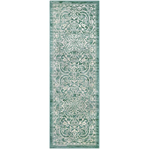 - Maples Rugs Runner Rug - Pelham 2' x 6' Non Skid Hallway Entry Rugs Runner [Made in USA] for Kitchen and Entryway, Light Spa
