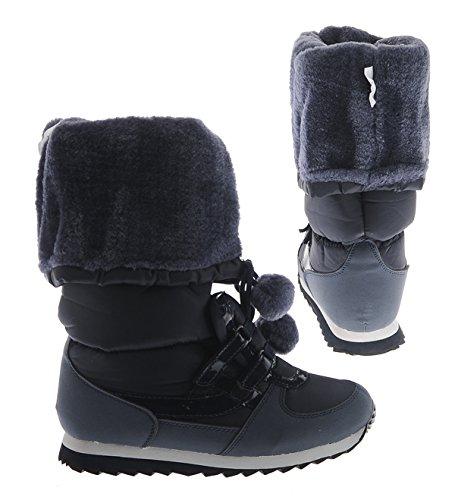 1535c611b2e9f3 Snow Fun Damen BOOTS Winter Stiefel Schuhe Dunkelblau NAVY Fell (38 ...