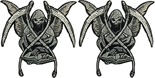 [Set 2 of Grim Reaper Skull Ghost God Of Death Dangerous Evil Devil Motorcycle Biker Riding Logo Hog Outlaw Jacket Costume DIY Sew on Iron on Embroidered Applique] (Diy Aviator Costume)