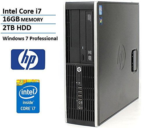 HP Elite 8200 SFF Desktop Computer (Intel Quad Core i7-2600 Up to 3.8GHz, 2TB SATA Hard Drive, 16GB Memory, DVDRW, Windows 7 Professional) (Certified Refurbished)