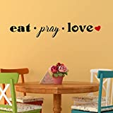 Eat Pray Love with Heart Accent Vinyl Wall Decal - Black