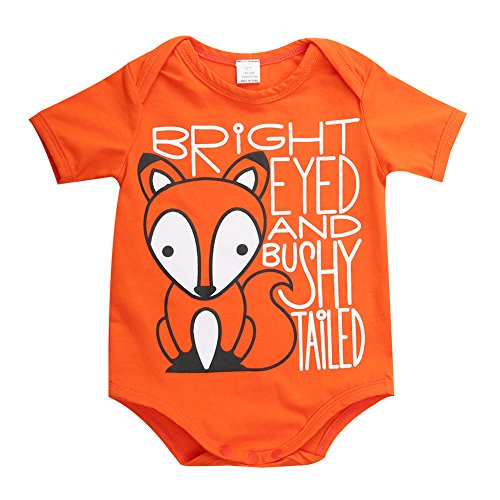 [Cute Toddler Baby Girls Boys Fox Organic One-pieces Romper Bodysuit Outfits (6-12 Month, Orange)] (Baby Fox Costumes For Infants)