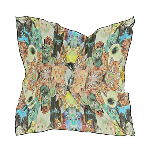 Silk Scarf Patterns Cats Square Headscarf 23 x 23 inches for Women