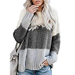 Women's  Knitted Pullover Color Block Crew Neck Long Bat Sleeve Sweater Oversized Loose  Tops
