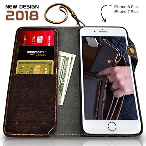 KArt- iPhone 8 Plus, iPhone 7 Plus Wallet Case [ Detachable SlimCase] Genuine Leather Phone Case [Credit Card Slots] Vintage Flip Case Cover ,Functional Kickstand[Gift Box] -Free Screen Protector (Code Go Rooms To Coupon)
