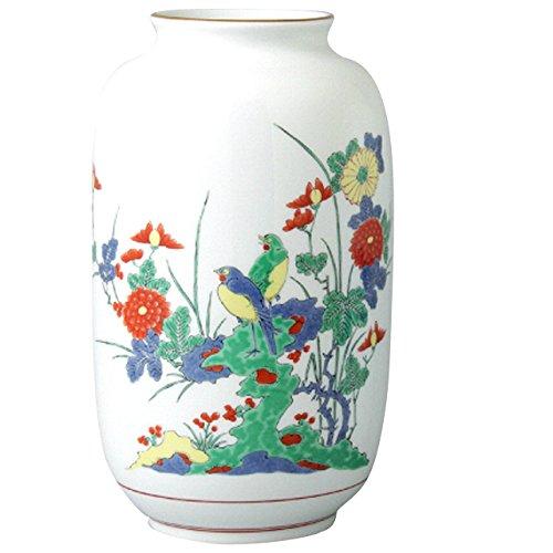 花瓶 : 有田焼 花鳥岩菊 夏目型花瓶 B00MHCLMTM