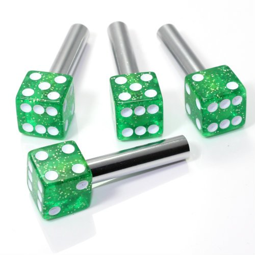 smallautoparts-clear-green-glitter-dice-interior-door-lock-knobs-set-of-4
