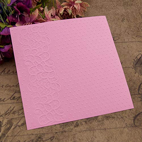 Kwan Crafts Flower Lace Dot Plastic Embossing Folders for Card Making Scrapbooking and Other Paper Crafts,10.5x14.5cm