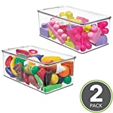 mDesign Kids Toy Storage Box with Lid for Action Figures, Cars, Crayons, Puzzles, 12.75'' x 7.25'' x 5.25'' - Pack of 2, Clear