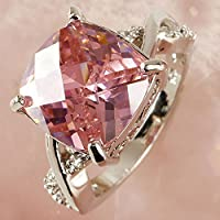 Nongkhai shop Pink & White Gemstone Fashion Jewelry Women Gift Silver Ring Size 6 7 8 New (7)
