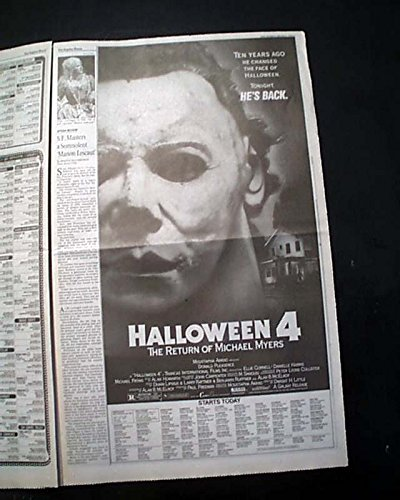 Best HALLOWEEN 4 Slasher Film Michael Myers Movie AD 1988 Los Angeles Newspaper LOS ANGELES TIMES, Calendar section only, October 21, -