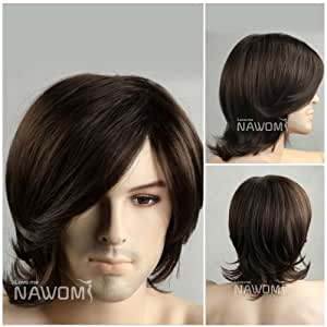 (WG-ZL15-6)Medium style Wave Men Wig,Dark Brown color.