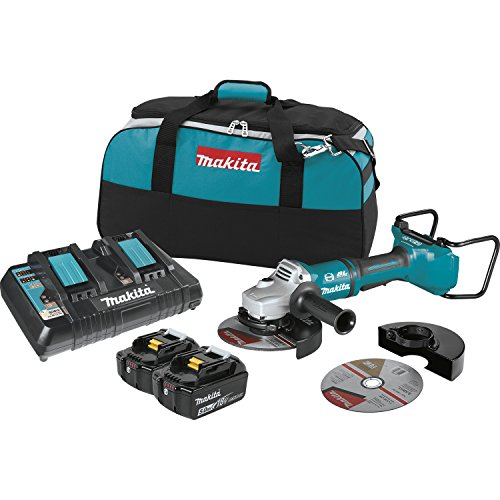 Makita XAG12PT1 5.0Ah 18V X2 LXT Lithium-Ion 36V Brushless Cordless 7 Paddle Switch Cut-Off Angle Grinder Kit, with Electric Brake