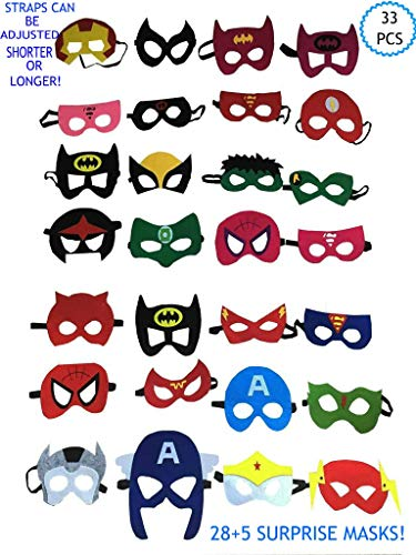 Superhero Masks Superhero Masks for Kids Kids Mask Kids Pretend Play Party Favors 33 PCS]()