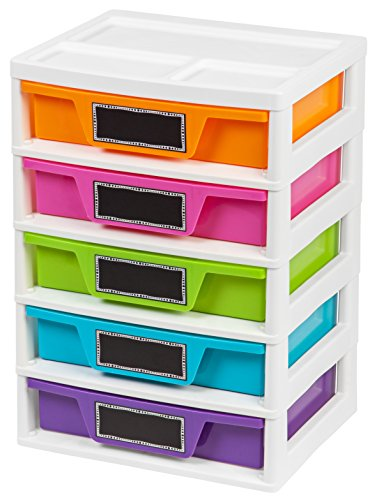 IRIS USA, Inc. PJD-305 5 Drawer Storage & Organizer Chest, Assorted Colors, Girl, Pastel (Rainbow 8 Drawer Rolling Chest By Recollections)