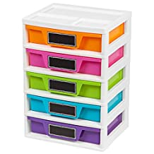 IRIS 150330 5 Drawer Storage and Organizer Chest, Assorted Colors, 1 Pack