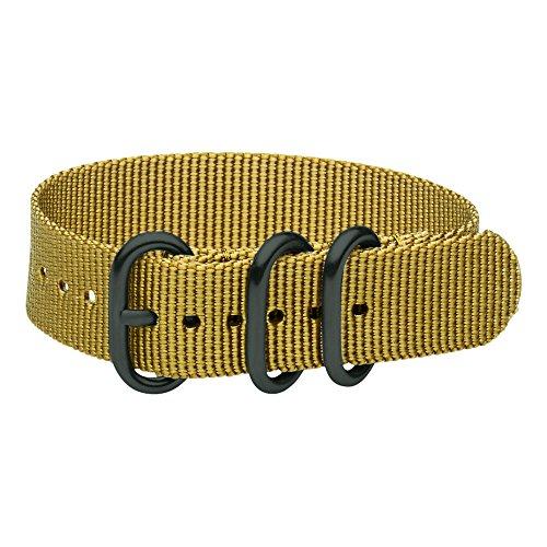 Clockwork Synergy - 3 Ring Heavy NATO PVD Black Watch Strap Bands (22mm, Desert Khaki)