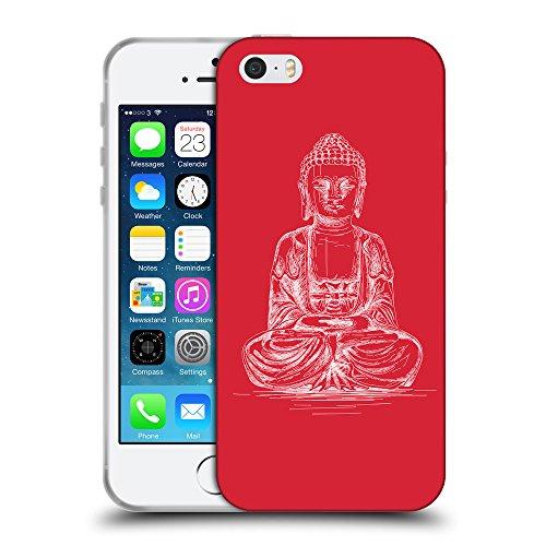 GoGoMobile Coque de Protection TPU Silicone Case pour // Q10010601 Bouddha assis 12 Alizarine // Apple iPhone 5 5S 5G SE