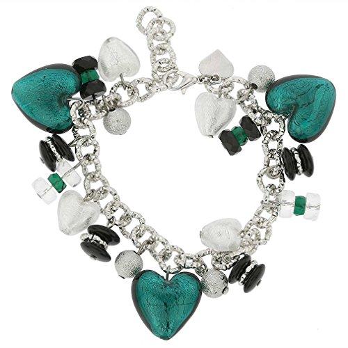 (GlassOfVenice Murano Glass Donatella Heart Charms Bracelet - Aqua )