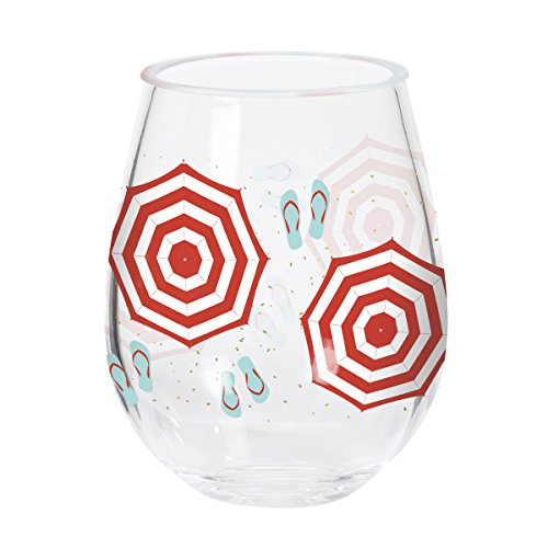C.R. Gibson Beach Sandals and Umbrella Acrylic Stemless Wine Glass, 12 oz