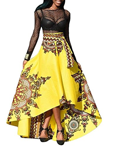 168ea8cfb9 Pxmoda Womens African Dashiki Length. Review - Pxmoda Women s Long African  Dashiki Skirt Full Length Ball Gown