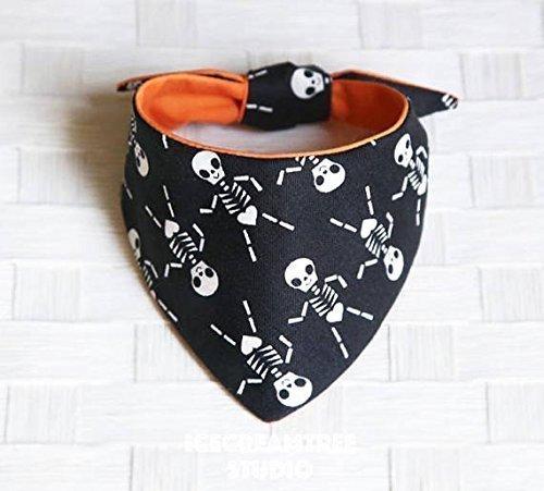 Black Skeleton Halloween - Tie on Modern Pet Bandana Scarf, Pet Fashion Scarf, Dog Bandana Scarf, Cat Bandana Scarf