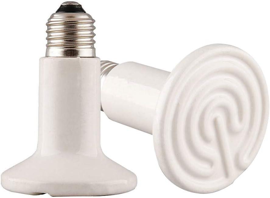 MD Lighting 2 Pack 100W White Infrared Heat Lamp Bulbs, Ceramic Heatting Emitter Brooder Coop Pet IR Lamp Bulbs for Reptile Like Snake, Tortoise so on, No Light